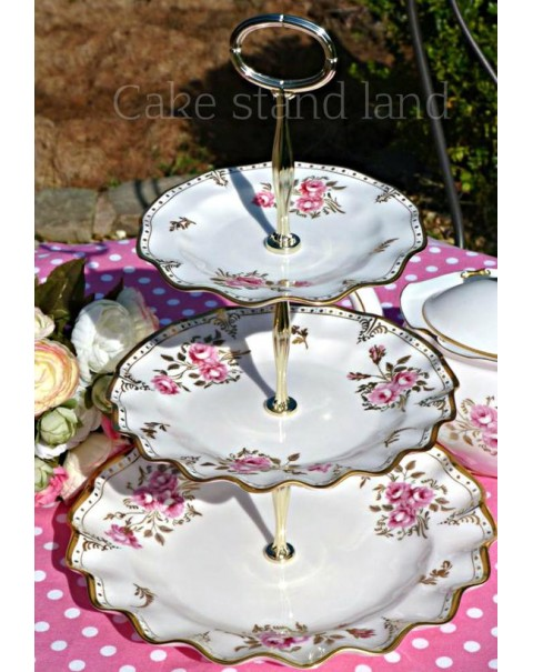 (OTHERS IN STOCK) CROWN DERBY PINXTON ROSES CAKE STAND