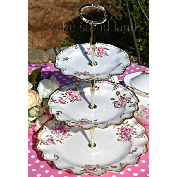 CROWN DERBY PINXTON ROSES CAKE STAND