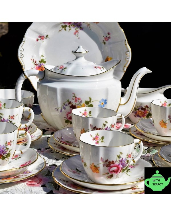 (SOLD) ROYAL CROWN DERBY POSIES TEA SET FOR SIX WI...