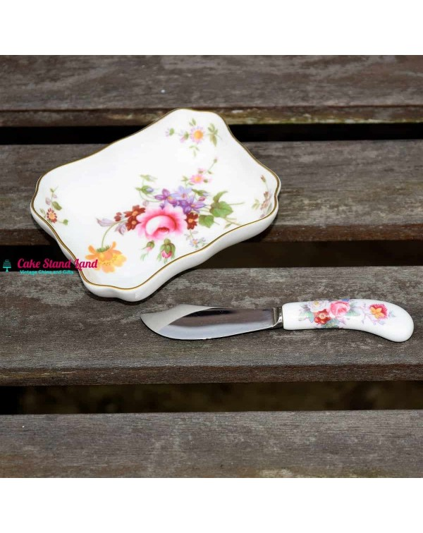 ROYAL CROWN DERBY POSIES BUTTER DISH AND KNIFE