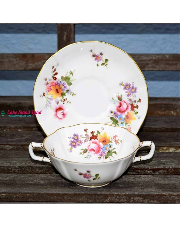 (SOLD) ROYAL CROWN DERBY POSIES SOUP COUPE AND SAU...