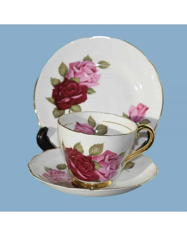 (SOLD) ROYAL IMPERIAL PINK & RED ROSE TEA TRIO