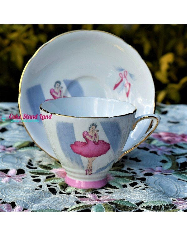 (SOLD) ROYAL STAFFORD BALLET TEA TRIO PINK