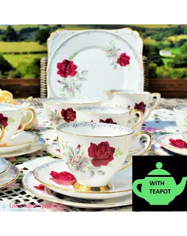 (SOLD) ROYAL STAFFORD ROSES TO REMEMBER TEA SET WI...