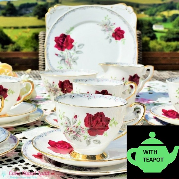 (SOLD) ROYAL STAFFORD ROSES TO REMEMBER TEA SET WITH TEAPOT
