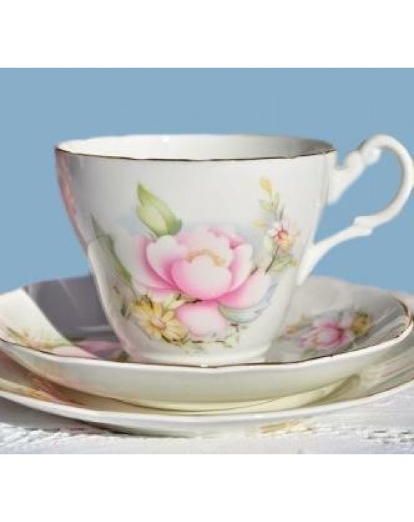ROYAL STUART PINK ROSE TEA TRIO