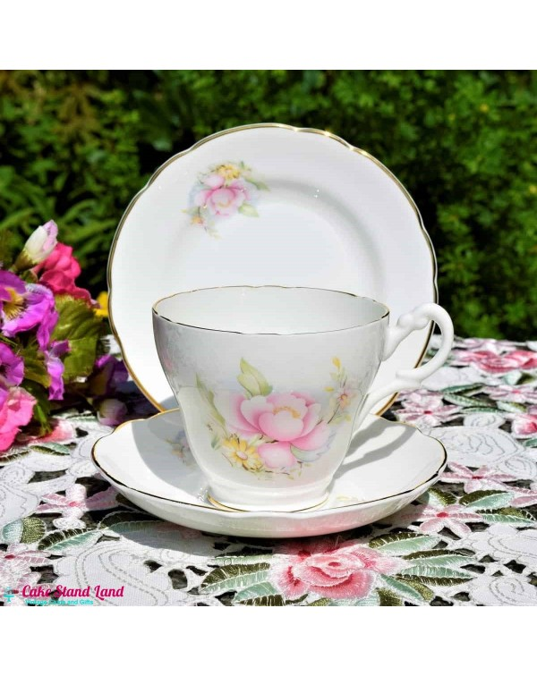 ROYAL STUART PINK ROSE TEA CUP & SAUCER LARGE ...