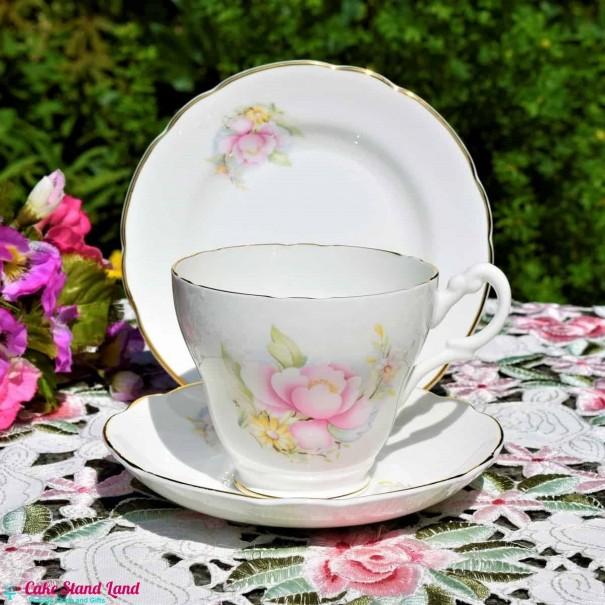 ROYAL STUART PINK ROSE TEA TRIO LARGE 1/2 PINT SIZE