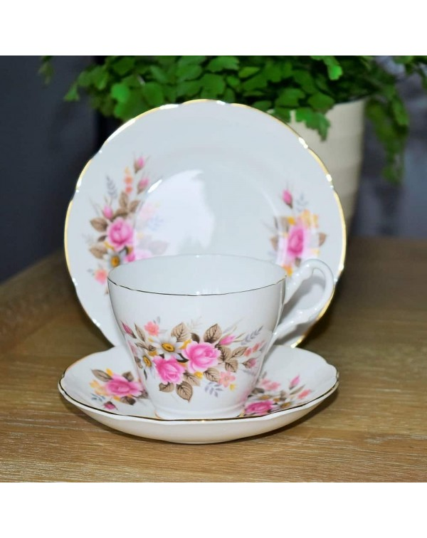 ROYAL STUART PINK ROSE TEA TRIO