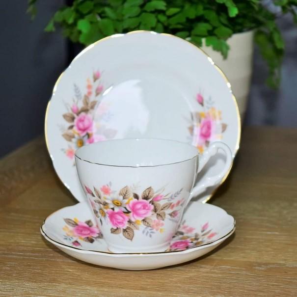 (SOLD) ROYAL STUART PINK ROSE TEA TRIO
