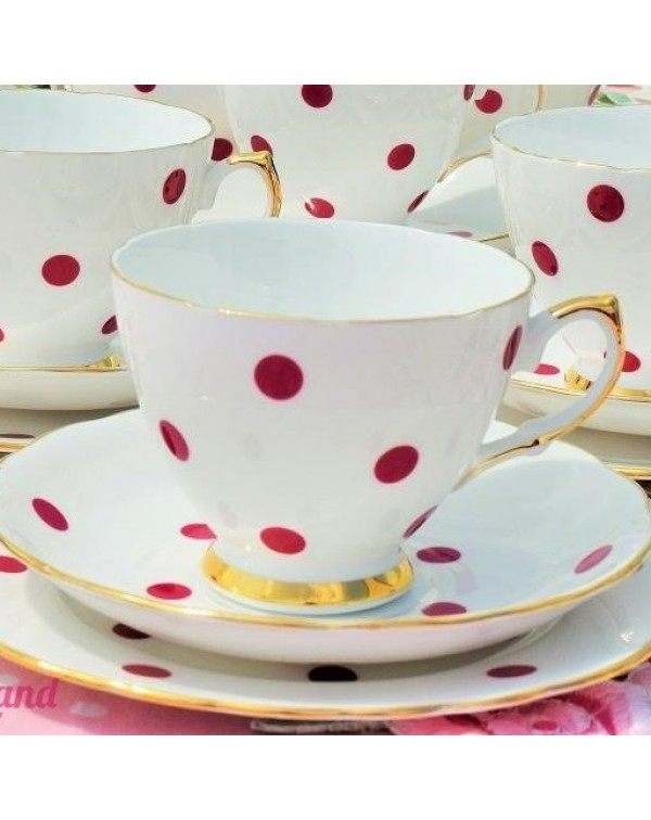 (SOLD) ROYAL VALE RED POLKA DOT VINTAGE TEA TRIO