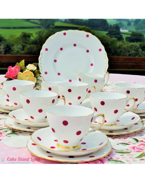 (OUT OF STOCK) ROYAL VALE RED POLKA DOT VINTAGE TEA SET FOR SIX