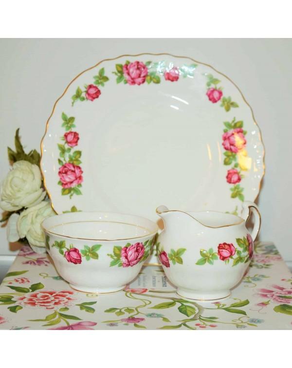 ROYAL VALE ROSE CAKE PLATE SET