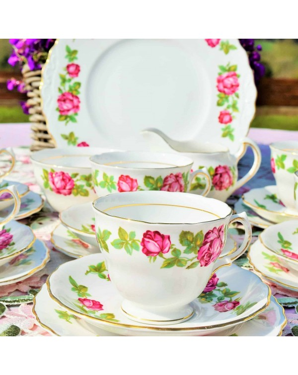 ROYAL VALE PINK ROSE TEA TRIO