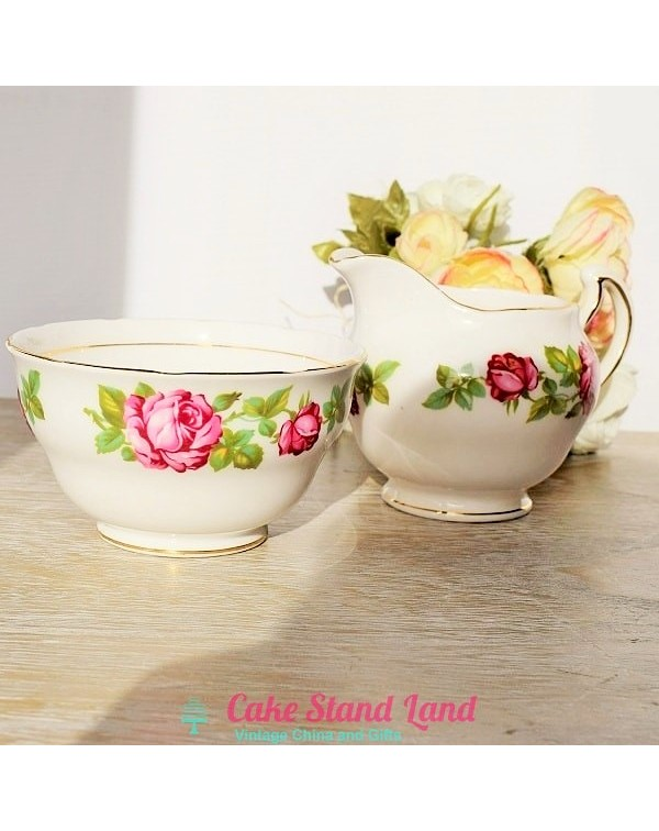 ROYAL VALE MILK JUG & SUGAR BOWL PINK ROSE