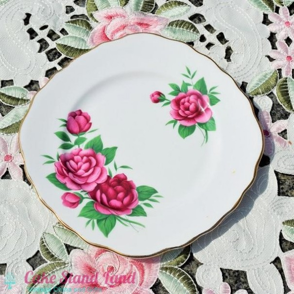 ROYAL VALE RED ROSE CAKE PLATE