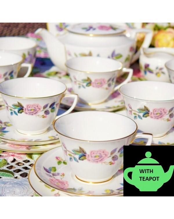 ROYAL WORCESTER JUNE GARLAND TEA SET & TEAPOT
