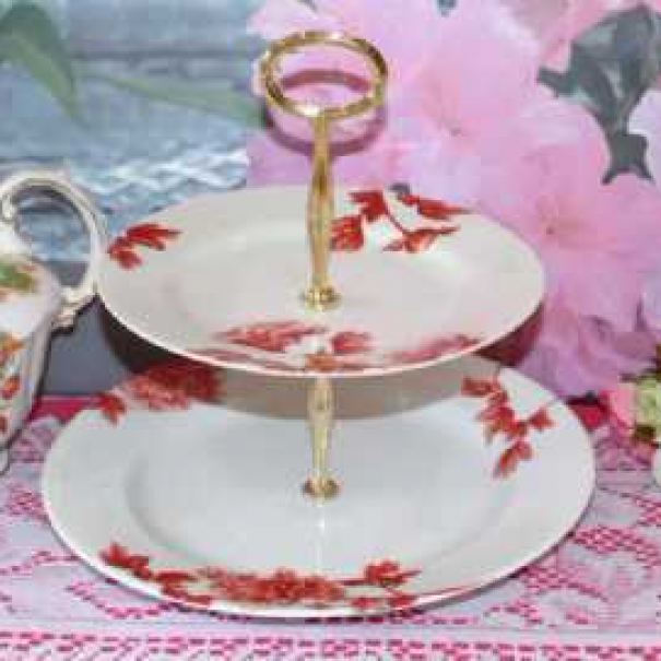 (SOLD) ROYAL WORCESTER PEONY CAKE STAND