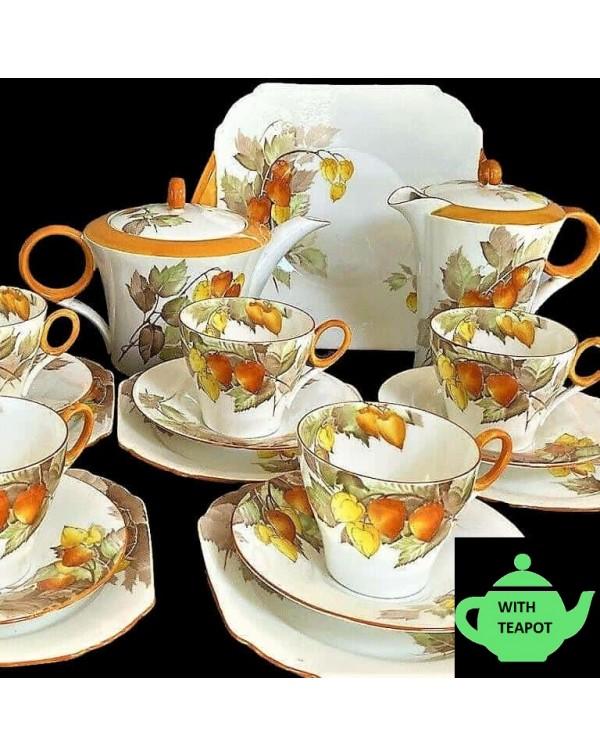 (SOLD) SHELLEY CAPE GOOSEBERRY COMPLETE TEA SET