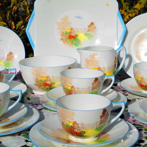 (SOLD) SHELLEY GATE & PATH  ART DECO TEA SET
