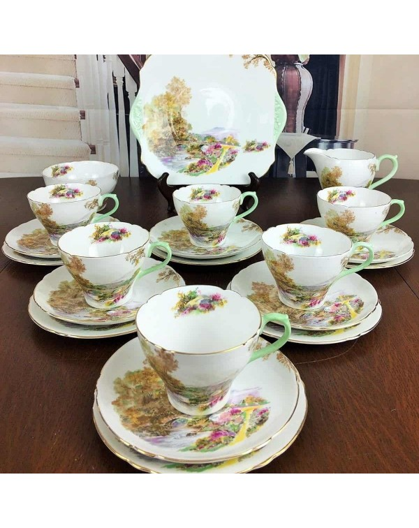 (OUT OF STOCK) SHELLEY HEATHER TEA SET