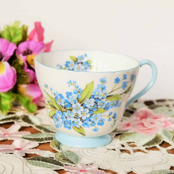 (SOLD) SHELLEY BLUE FLORAL TEA CUP
