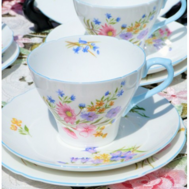 (OUT OF STOCK) SHELLEY WILD FLOWERS TEA TRIO