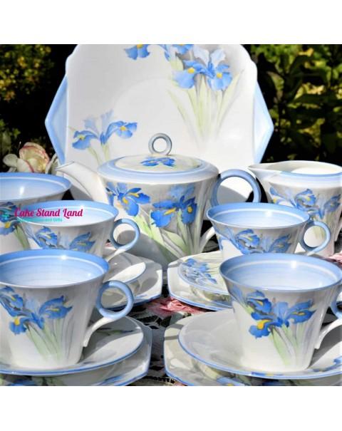 (SOLD) SHELLEY BLUE IRIS TEA SET WITH TEAPOT