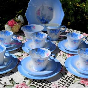 SHELLEY BLUE PHLOX TEA SET