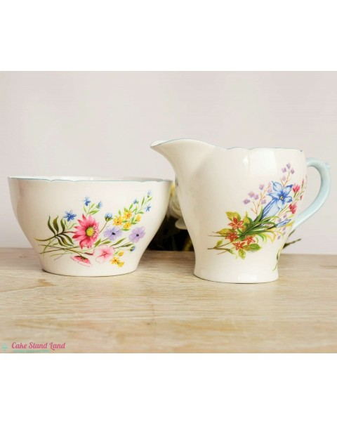 (OUT OF STOCK) SHELLEY WILD FLOWERS MILK JUG & SUGAR BOWL
