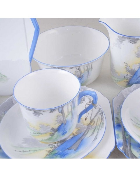 (SOLD) SHELLEY BLUEBELL WOOD TEA SET 30 PIECES