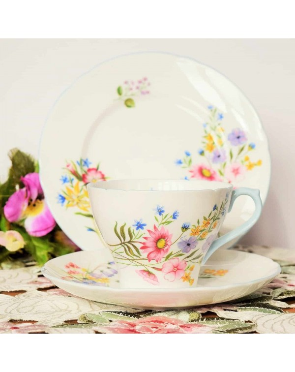 SHELLEY WILD FLOWERS TEA TRIO