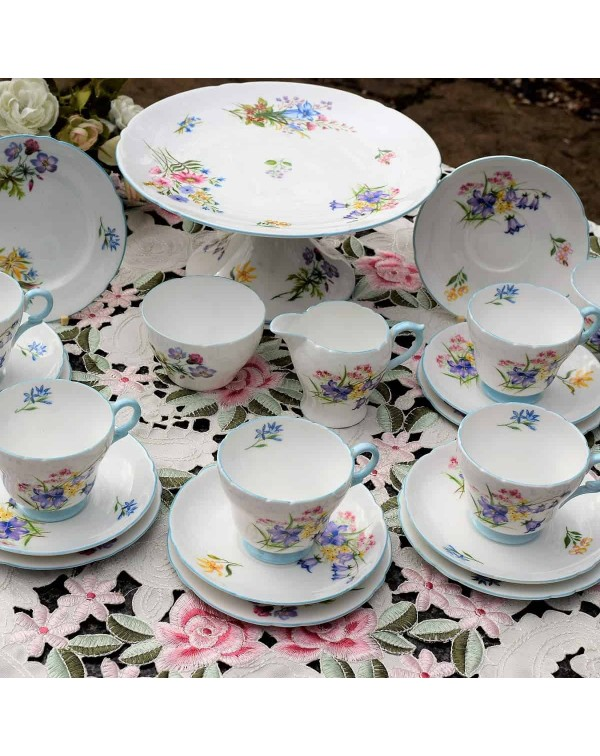 SHELLEY WILD FLOWERS COFFEE SET WITH CAKE STAND