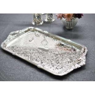 QUEEN ANNE SILVER PLATED TRAY