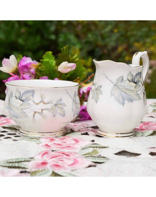 ROYAL ALBERT SILVER MAPLE CREAM & SUGAR