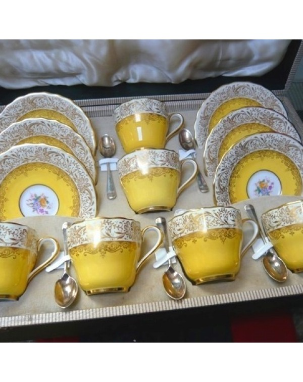 (SOLD) SPODE RUSKIN CASED COFFEE SET