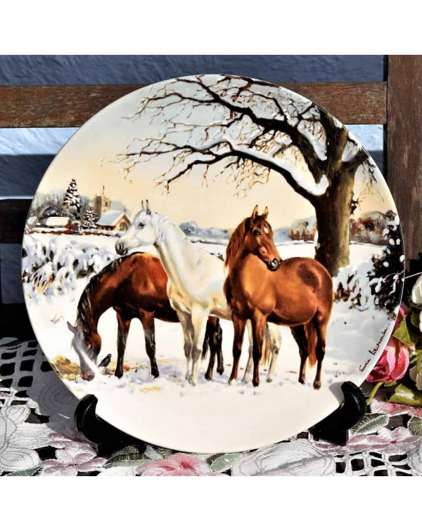 (SOLD) SPODE NOBLE HORSE CHRISTMAS COLLECTION PLAT...