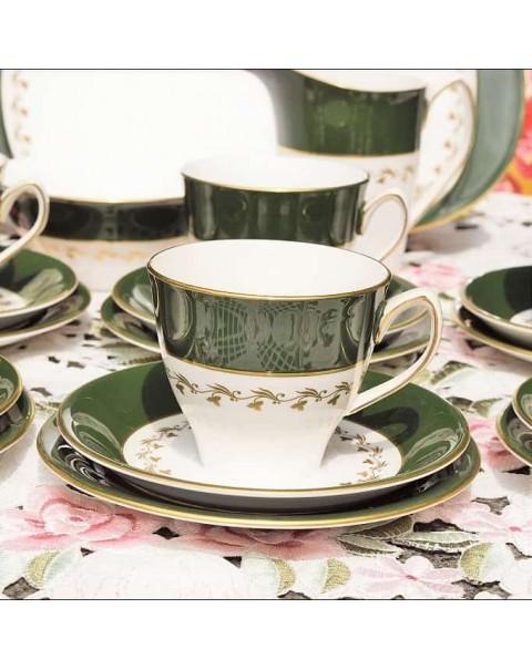 (SOLD) SPODE GREEN VELVET TEA SET VERY RETRO