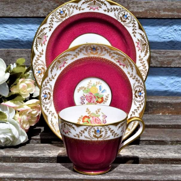 (SOLD) SPODE REGENT SCARLET TEA TRIO