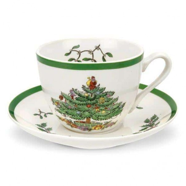 (SOLD) SPODE CHRISTMAS TREE TEA DUO BOXED