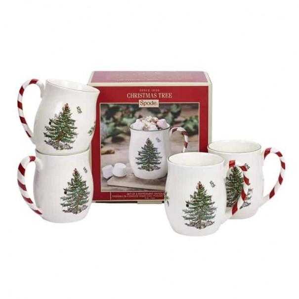(SOLD) SET OF 4 SPODE CHRISTMAS MUGS