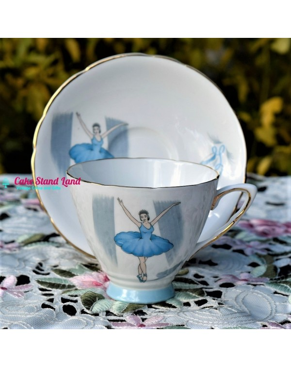 (SOLD) ROYAL STAFFORD BALLET TEA TRIO BLUE