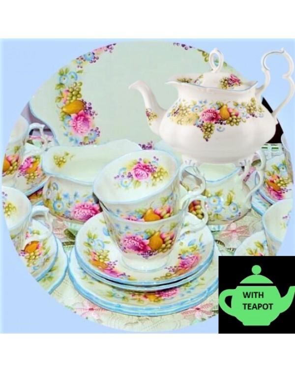 (SOLD) ROYAL ALBERT SUMMER GARLAND TEA SET