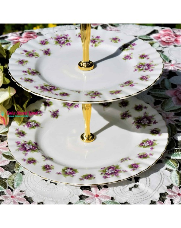 ROYAL ALBERT SWEET VIOLETS CAKE STAND 2 TIERS