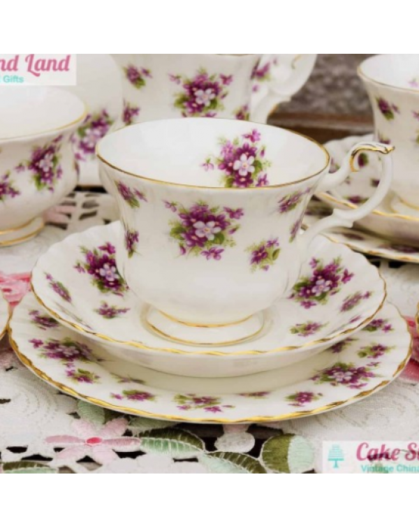 ROYAL ALBERT SWEET VIOLETS TEA TRIO