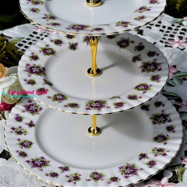 ROYAL ALBERT SWEET VIOLETS CAKE STAND 3 TIERS