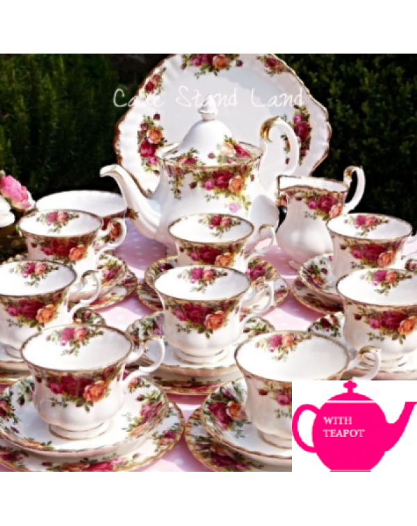 COMPLETE OLD COUNTRY ROSES TEA SET FOR EIGHT