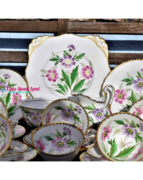 TUSCAN HAND PAINTED  FLORAL TEA SET
