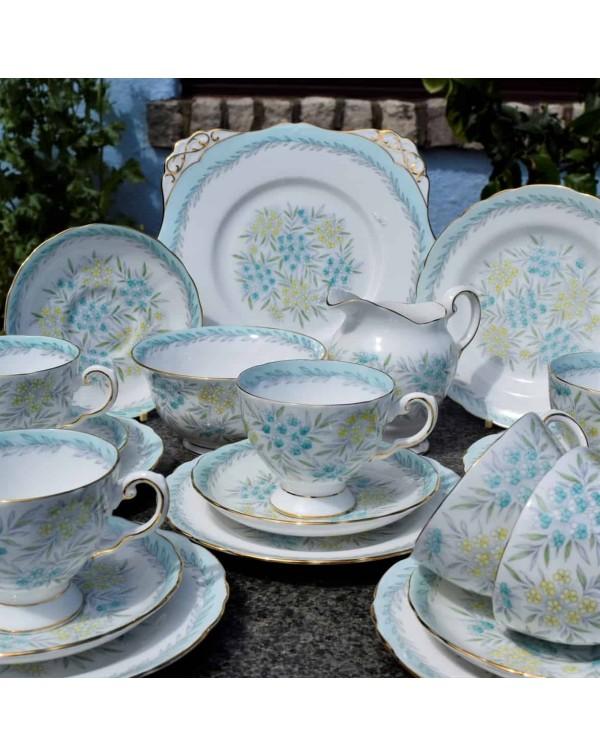 TUSCAN VINTAGE CHINA TEA SET DUCK EGG BLUE