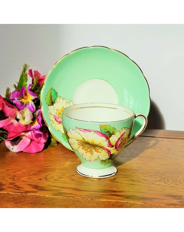 TUSCAN CAMELLIA TEA CUP AND SAUCER